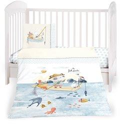 Бебешки спален комплект от 5 части - The Fish Panda - 100% ранфорс за матраци с размери 60 x 120 cm и 70 x 140 cm -