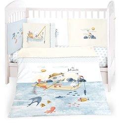 Бебешки спален комплект от 6 части - The Fish Panda - 100% ранфорс за легла с размери 60 x 120 cm или 70 x 140 cm -