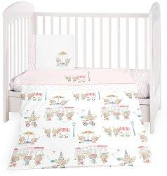 Бебешки спален комплект от 5 части - Day in Paris - 100% ранфорс за матраци с размери 60 x 120 cm и 70 x 140 cm -