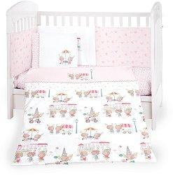 Бебешки спален комплект от 6 части - Day in Paris - 100% ранфорс за легла с размери 60 x 120 cm или 70 x 140 cm -