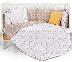 Бебешки спален комплект от 6 части - Beige Crowns - 100% ранфорс за легло с размери 70 x 140 cm -