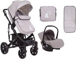 """Комбинирана бебешка количка 2 в 1 - Beloved - С 4 колела в комплект с кош за кола """"Universal"""" -"""