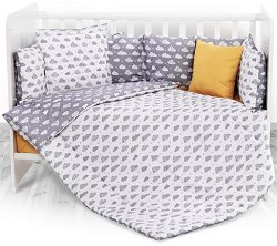 Бебешки спален комплект от 6 части - Grey Clouds - 100% ранфорс за легло с размери 70 x 140 cm -