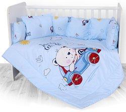 Бебешки спален комплект от 5 части - Bear and Car - 100% ранфорс за легло с размери 70 x 140 cm -