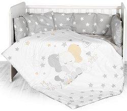 Бебешки спален комплект от 5 части - Stars Elephant - 100% ранфорс за легло с размери 70 x 140 cm -