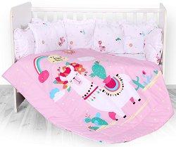 Бебешки спален комплект от 5 части - Happy Lama - 100% ранфорс за легло с размери 70 x 140 cm -