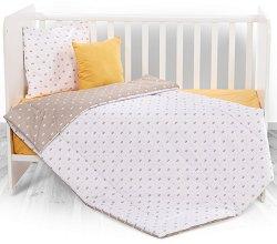 Бебешки спален комплект от 4 части - Beige Crowns - 100% хасе за матраци с размери 60 x 120 cm и 70 x 140 cm -