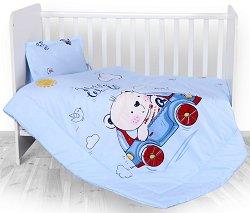 Бебешки спален комплект от 4 части - Bear and Car - 100% хасе за матраци с размери 60 x 120 cm и 70 x 140 cm -