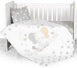 Бебешки спален комплект от 4 части - Stars Elephant - 100% хасе за матраци с размери 60 x 120 cm и 70 x 140 cm -