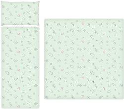 Летен спален комплект за бебешка количка - Lamb Green - 3 части -