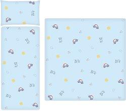 Летен спален комплект за бебешка количка - Bear and Car - 3 части -