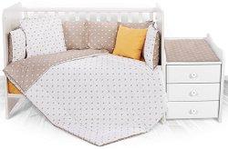 Бебешки спален комплект от 6 части - Trend: Beige Crowns - 100% ранфорс за легло с размери 62 x 110 cm -