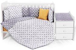 Бебешки спален комплект от 6 части - Trend: Grey Clouds - 100% ранфорс за легло с размери 62 x 110 cm -