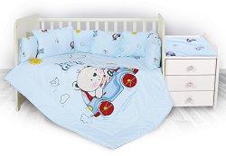 Бебешки спален комплект от 5 части - Trend: Bear and Car - 100% ранфорс за легло с размери 62 x 110 cm -