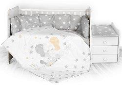 Бебешки спален комплект от 5 части - Trend: Stars Elephant - 100% ранфорс за легло с размери 62 x 110 cm -
