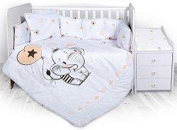 """Бебешки спален комплект от 5 части - Trend: Слонче - 100% ранфорс за легло с размери 62 x 110 cm от серията """"Антиакари"""" -"""