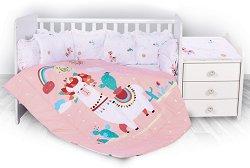"""Бебешки спален комплект от 5 части - Trend: Lama - 100% ранфорс за легло с размери 62 x 110 cm от серията """"Happy Lama"""" -"""