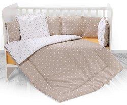 Бебешки спален комплект от 4 части с обиколник - Lily: Beige Crowns - 100% ранфорс за легло с размери 60 x 120 cm -