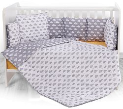 Бебешки спален комплект от 4 части с обиколник - Lily: Grey Clouds - 100% ранфорс за легло с размери 60 x 120 cm -