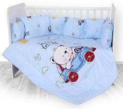 Бебешки спален комплект от 4 части с обиколник - Lily: Bear and Car - 100% ранфорс за легло с размери 60 x 120 cm -