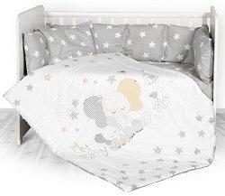 Бебешки спален комплект от 4 части с обиколник - Lily: Stars Elephant - 100% ранфорс за легло с размери 60 x 120 cm -