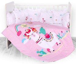 Бебешки спален комплект от 4 части с обиколник - Lily: Happy Lama - 100% ранфорс за легло с размери 60 x 120 cm -