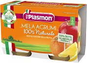 Plasmon - Пюре от ябълки и цитрусови плодове - Опаковка от 2 x 104 g за бебета над 6 месеца - пюре