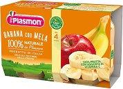 Plasmon - Пюре от банани и ябълки - Опаковка от 2 x 104 g за бебета над 4 месеца - пюре