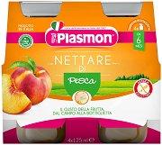 Plasmon - Сок от праскови - Опаковка от 4 бутилки x 125 ml за бебета над 6 месеца -