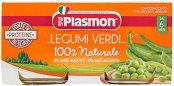 Plasmon - Пюре от бобови култури със зеленчуци - Опаковка от 2 x 80 g за бебета над 6 месеца -