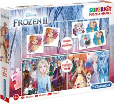 Замръзналото кралство - 4 в 1 - Комплект от 2 игри и 2 пъзела - творчески комплект