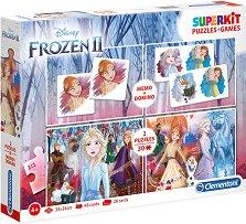 Замръзналото кралство - 4 в 1 - Комплект от 2 игри и 2 пъзела - пъзел