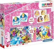 Принцесите на Дисни - 4 в 1 - Комплект от 2 игри и 2 пъзела - пъзел