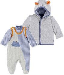 Бебешки комплект - Norbert - Гащеризон, блуза и суитшърт -