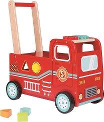 Количка за бутане - Пожарникарски камион - Дървен комплект за игра с кубчета -