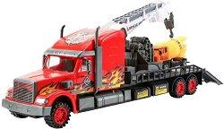 Камион с pull-back механизъм - Комплект с камионче -