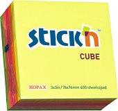 Самозалепващи листчета в неонови цветове - Кубче от 400 листчета с размери 7.6 x 7.6 cm