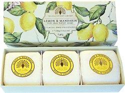 English Soap Company Lemon & Mandarin Gift Box - Подаръчен комплект с луксозни сапуни с аромат на лимон и мандарина - крем