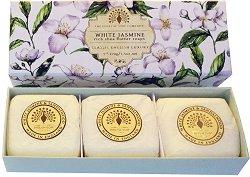 English Soap Company White Jasmine Gift Box - Подаръчен комплект с луксозни сапуни с аромат на бял жасмин - мокри кърпички