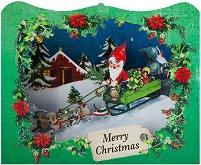 Поздравителна 3D картичка - Дядо Коледа - пъзел