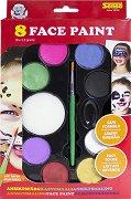 Бои за лице - Deluxe - Комплект от 8 цвята с четка