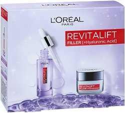 Подаръчен комплект - L'Oreal Revitalift Filler - Дневен крем и серум за лице с хиалуронова киселина - гланц