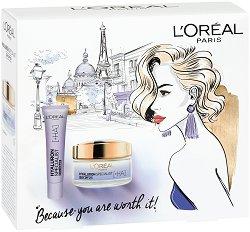 Подаръчен комплект - L'Oreal Hyaluron Specialist - Дневен и околоочен крем с хиалуронова киселина - фон дьо тен