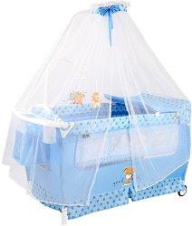 Сгъваемо бебешко легло на две нива - Sleep N Dream Rocker 2020 - Комплект с балдахин и аксесоари -
