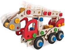 Пожарникарски камион - Дървен комплект за сглобяване -