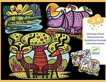 Оцветявай с флумастери - Кадифени животни от Савана - Творчески комплект -