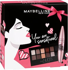 Подаръчен комплект - Maybelline You are Sensational - Спирала за обемни мигли и палитра сенки за очи - продукт