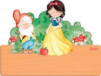 Табела за детска стая - Снежанка и седемте джуджета - Комплект със стикери -