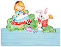 Табела за детска стая - Алиса в страната на Чудесата - Комплект със стикери -