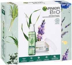 Подаръчен комплект - Garnier Bio - Почистващ гел за лице и дневен крем против стареене - серум